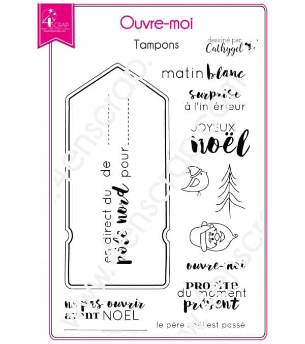 Clear stamp Scrapbooking Card Making christmas tag- Open up