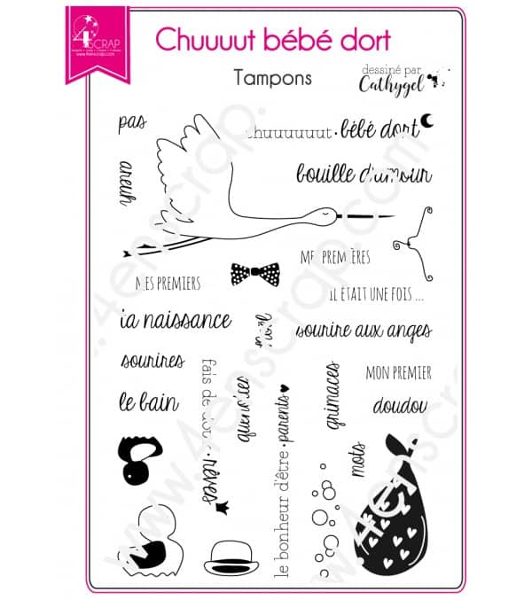 Clear stamp Scrapbooking Card Making family baby - Quiet baby is sleeping