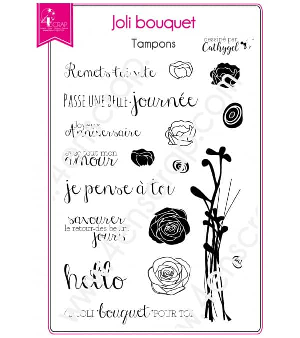 Tampon transparent Scrapbooking Carterie rose - Joli bouquet