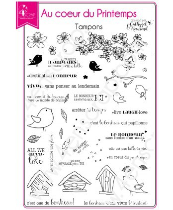 Clear stamp Scrapbooking Card Making bird leaves cherry tree - In the heart of spring