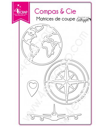 Cutting die Scrapbooking Cup travel world - Compass & Co