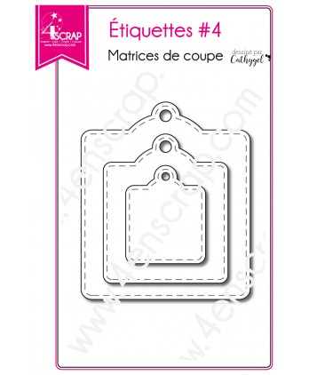 Cutting die Scrapbooking Card making stitch square - Labels 4