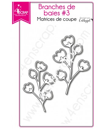 Matrice de coupe Scrapbooking Carterie feuille - Branches de baies 3