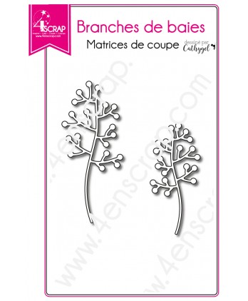 Matrice de coupe Scrapbooking Carterie feuille tige - Branches de baies 2