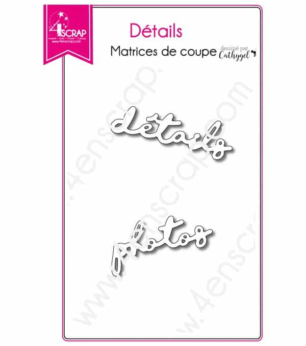 Matrice de coupe Scrapbooking Carterie mot photo - Détails