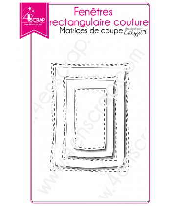 Cutting die Scrapbooking Card Making shaker card - Stitched rectangular windows