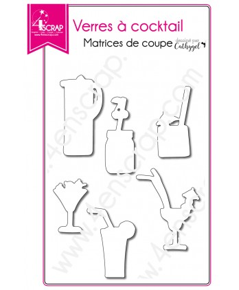 Matrice de coupe Scrapbooking Carterie mojito boisson - Verres à cocktail