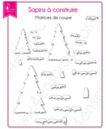 Cutting die Scrapbooking Card making mountain snow - Christmas tree to build