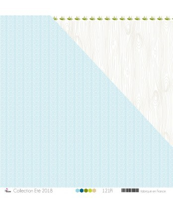"Printed Paper Scrapbooking Card making - ""White Waves on Glacier Blue Background"""