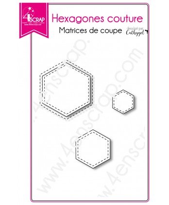 Cutting die Scrapbooking Card making shape - Stitched hexagons