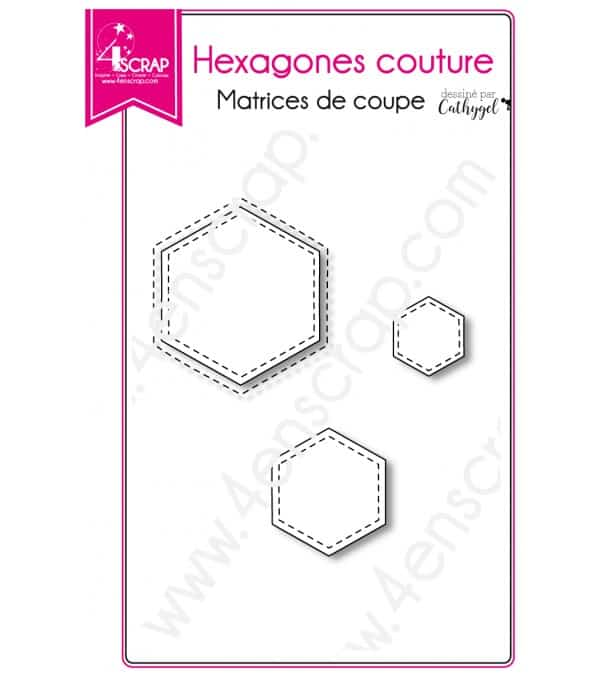 Matrice de coupe Scrapbooking Carterie forme - Hexagones couture