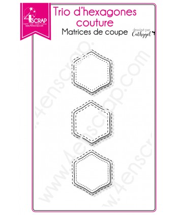 Cutting die Scrapbooking Card making shape - Trio of stitched hexagons