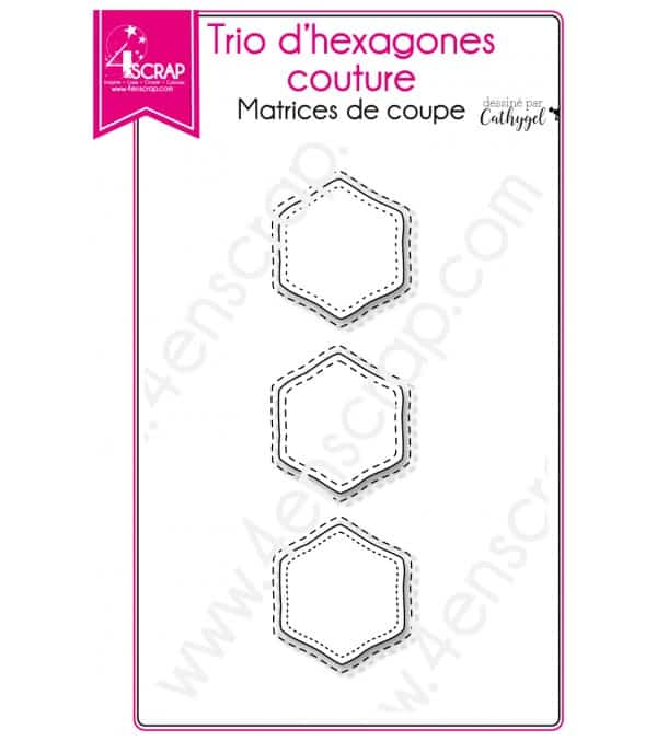 Matrice de coupe Scrapbooking Carterie - Trio d'hexagones couture