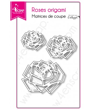 Matrice de coupe Scrapbooking Carterie fleur graphique nature - Roses origami