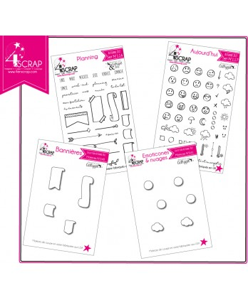 "Tampon transparent matrice die Scrapbooking Carterie - Pack ""Planner & Bullet journal"""