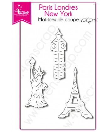 Matrice de coupe Scrapbooking Carterie ville - Paris Londres New York