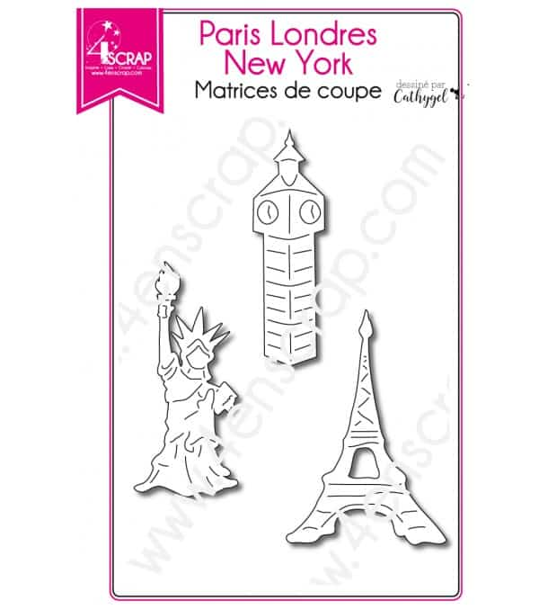 Matrice de coupe Scrapbooking Carterie ville monument - Paris Londres New York