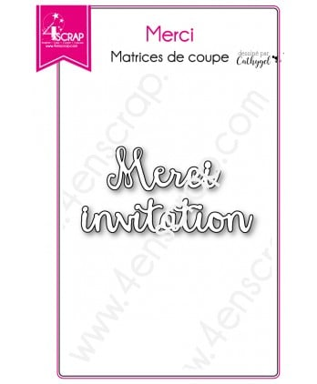 Matrice de coupe Scrapbooking Carterie mot invitation - Merci