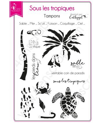 Clear stamp Scrapbooking Card making beach sea - In the Tropics 2