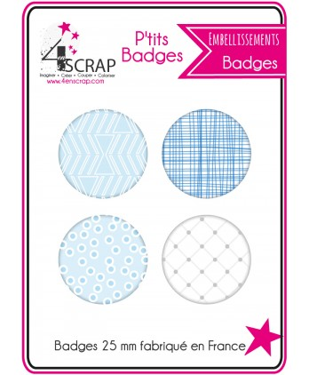 Embellissement Scrapbooking Carterie - Lot de 4 ptits badges Eté 2016 1