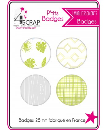 Embellissement Scrapbooking Carterie - Lot de 4 ptits badges Eté 2016 2