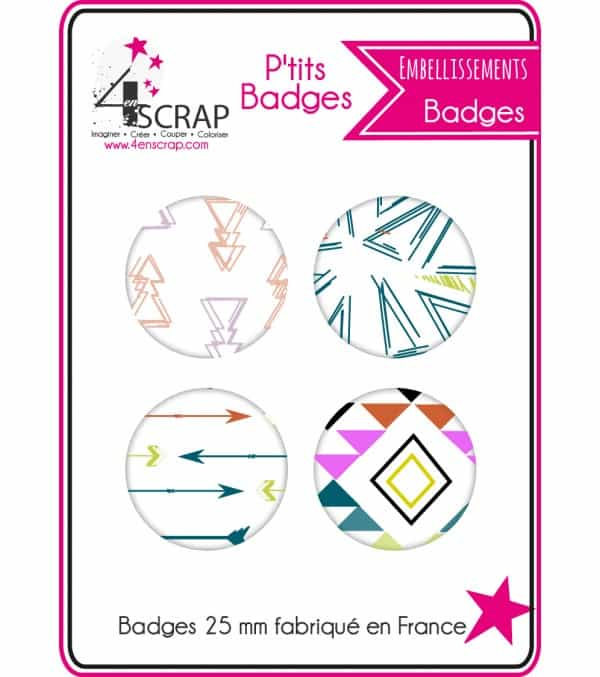 Embellissement Scrapbooking Carterie - Lot de 4 ptits badges Automne 2016 1