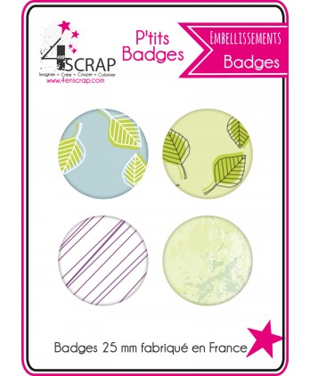 Embellissement Scrapbooking Carterie - Lot de 4 ptits badges Automne 2016 2