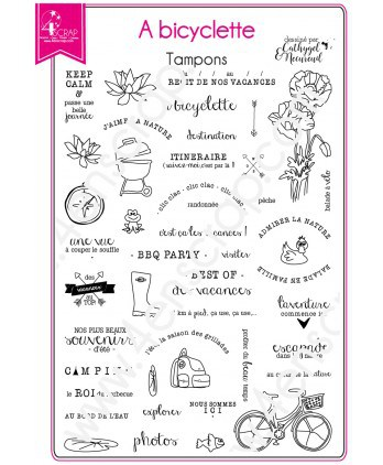 Tampon transparent Scrapbooking Carterie campagne - A bicyclette