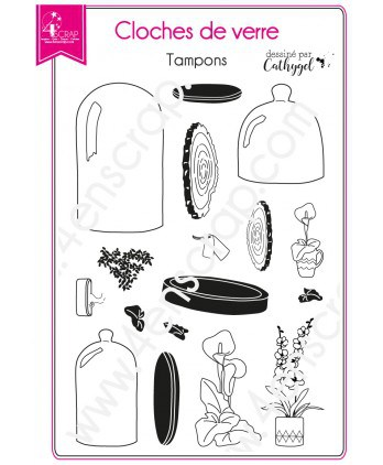 Clear Stamp Scrapbooking Card making deco plant - Bell jars