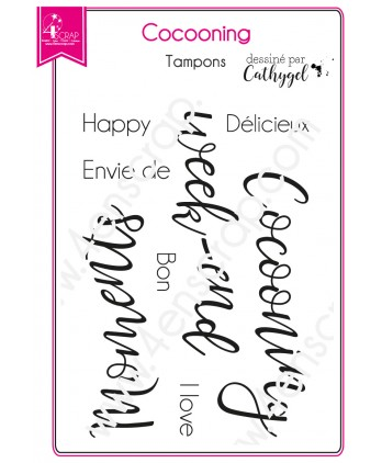 Tampon transparent Scrapbooking Carterie week end moment texte - Cocooning
