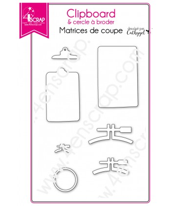 Cutting die Scrapbooking Card making note deco - Clipboard & embroidery circle