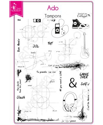 Clear stamp Scrapbooking Card making teenager music young - Teen