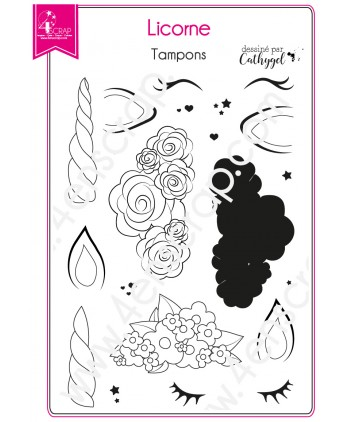 Clear stamp Scrapbooking Card making creature fantasy flower - Unicorn