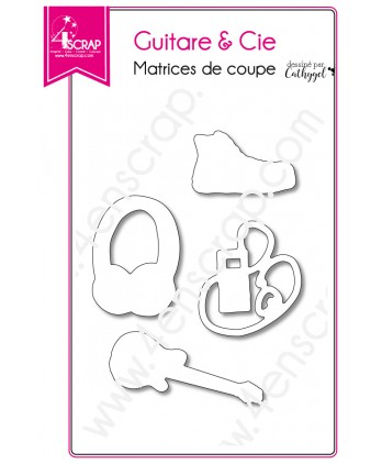 Matrice de coupe Scrapbooking Carterie musique ado basket - Guitare & Cie