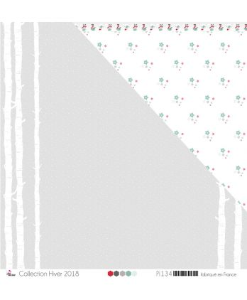 "Printed Paper Scrapbooking Card making - ""White Birches & Snow on Light Gray Background"""