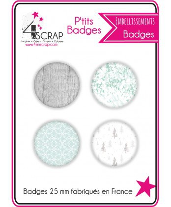 Embellishment Scrapbooking Card making - Pack of 4 small badges Winter 2018