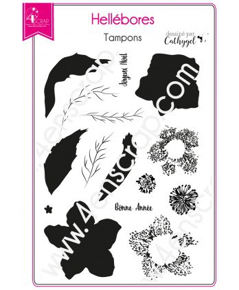 Clear Stamp Scrapbooking Card making Flower Leaf Winter - Hellebores