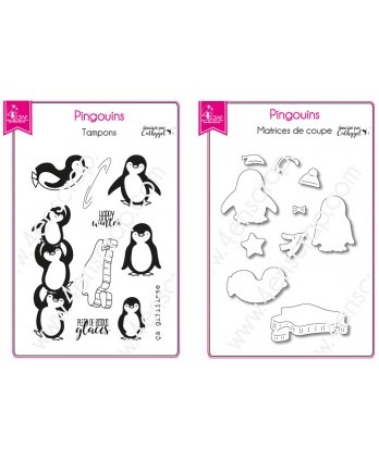 Clear stamp Cutting die Scrapbooking Card making Penguin Ice - It's slipping !