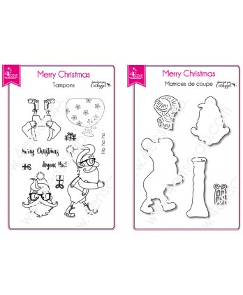 Clear Stamp Cutting Die Scrapbooking Card making Santa Claus Gift - Merry Christmas