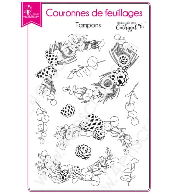 Tampon transparent Scrapbooking Carterie pin branche baie - Couronnes de feuillages