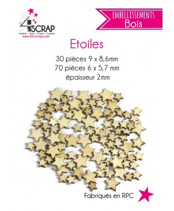 Embellishment Scrapbooking Card Making - Stars Wood