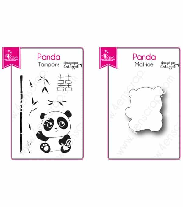 Tampon transparent matrice die Scrapbooking Carterie bambou animal - Bébé Panda