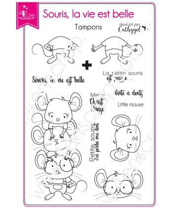 Tampon transparent Scrapbooking Carterie animal dent enfant - Souris, la vie est belle