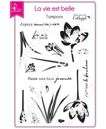 Clear Stamp Scrapbooking Card Making Crocus Flower Happiness - Life Is Beautiful