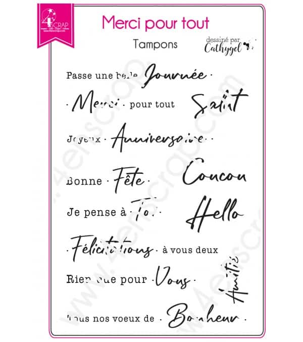 Tampon transparent Scrapbooking Carterie mot texte intemporel - Merci pour tout