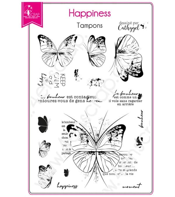 Tampon transparent Scrapbooking Carterie bonheur papillon printemps - Happiness