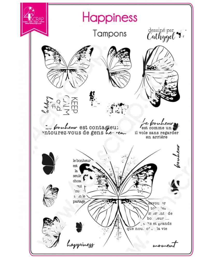 8bf9ac8cbf Tampon transparent Scrapbooking Carterie bonheur papillon printemps -  Happiness. Loading zoom