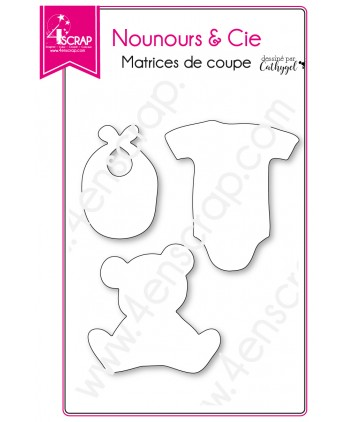 Cutting die Scrapbooking Card making stuffied toy bodysuit bib - Teddy & Co