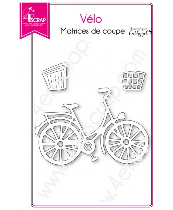 Matrice de coupe Scrapbooking Carterie panier bicyclette transport - Vélo