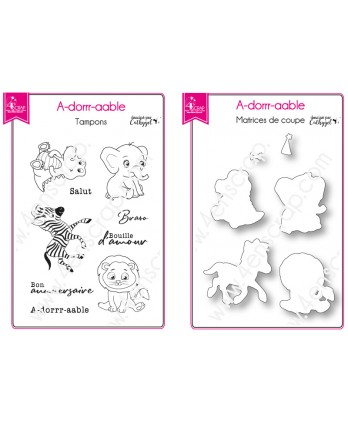 Tampon transparent matrice die Scrapbooking Carterie savane bébé animal - A-dorrr-aable